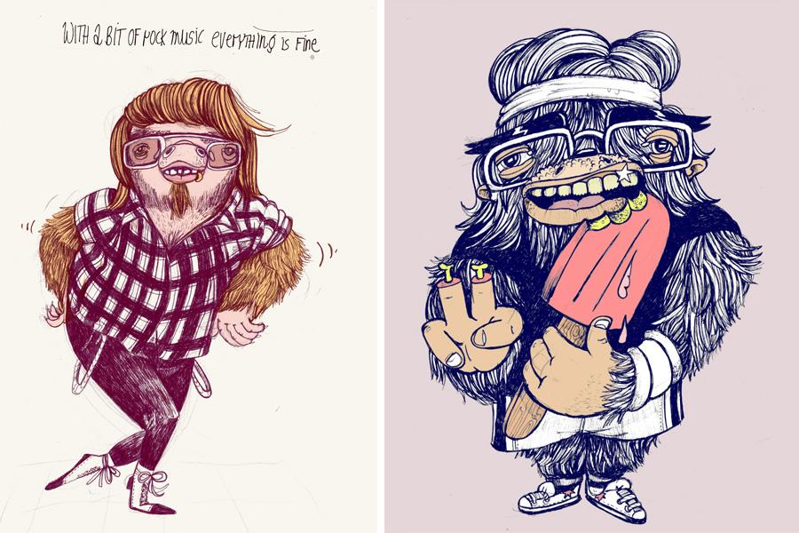 monstermäßige frühlingsgefühl illustrationen