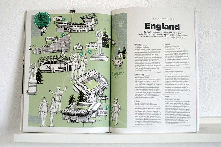 illustrated map of England for the 11 freunde groundhopping series