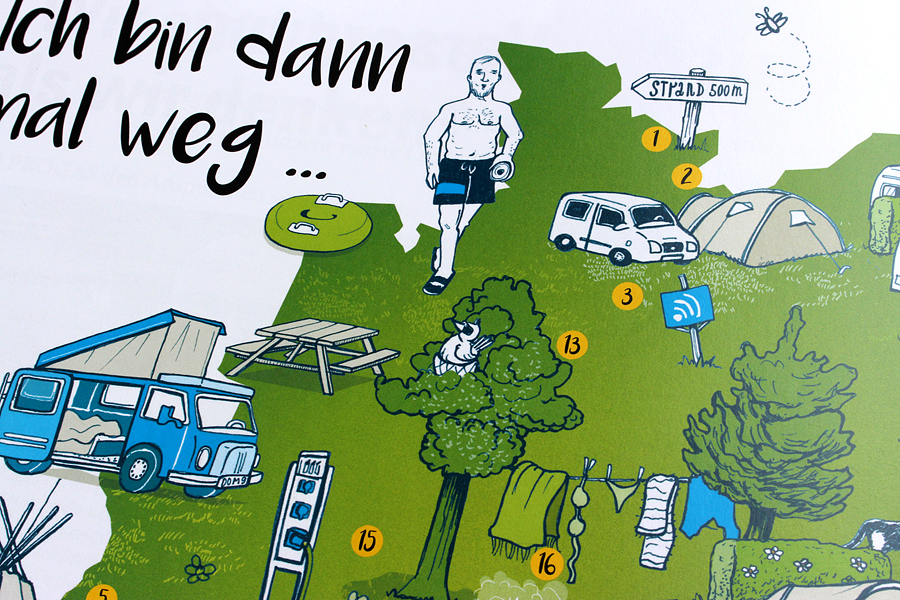 illustration deutschlandkarte camping edition