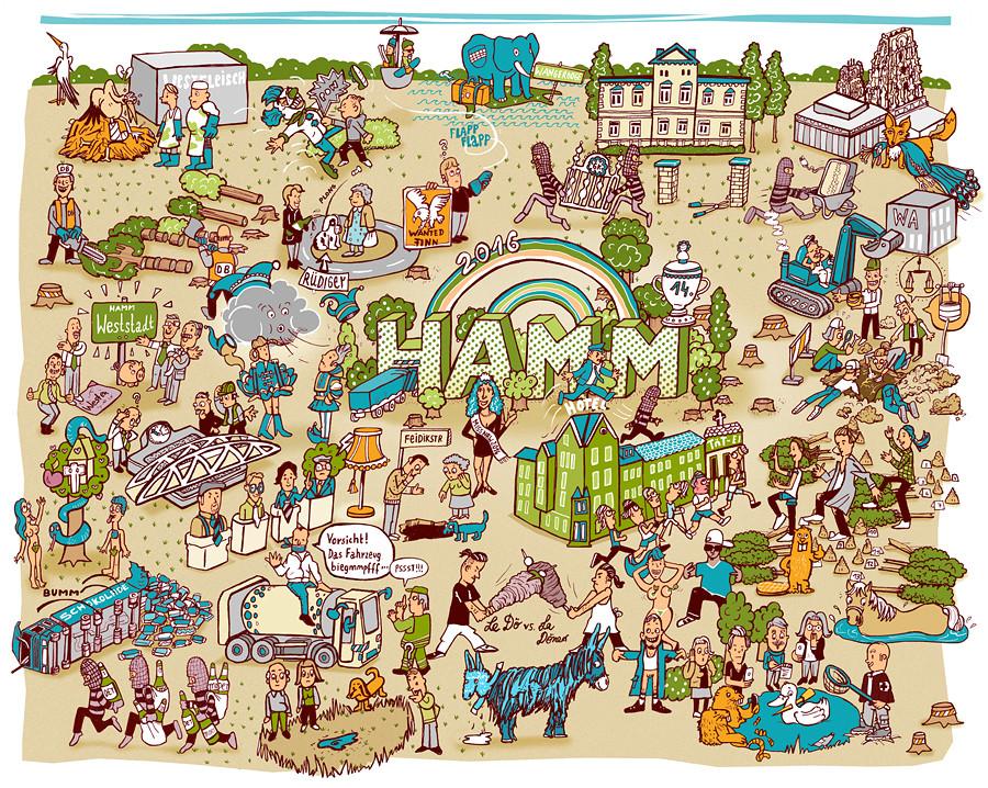 Illustration Jahresrückblick Hamm 2016 von Diana Köhne
