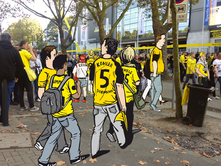Spass Montagen Fußballfans