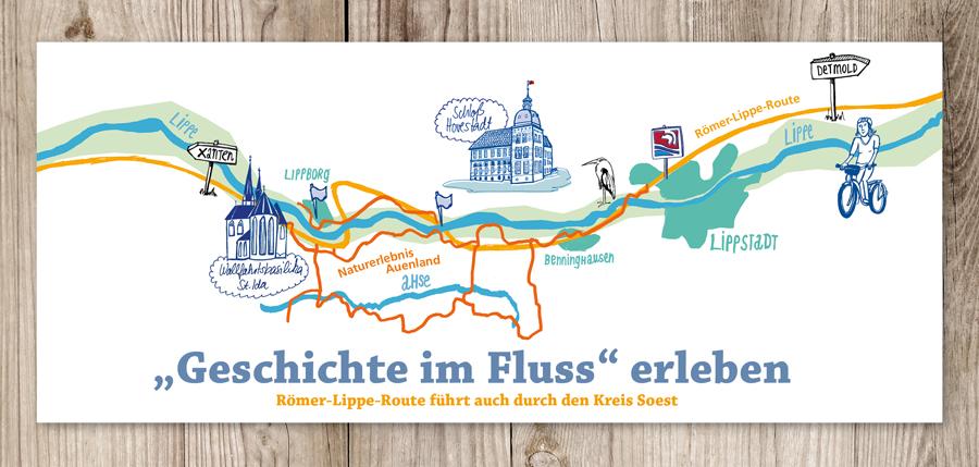 Illustration der Römer-Lippe-Routefür das Südwestfalen MAgazin