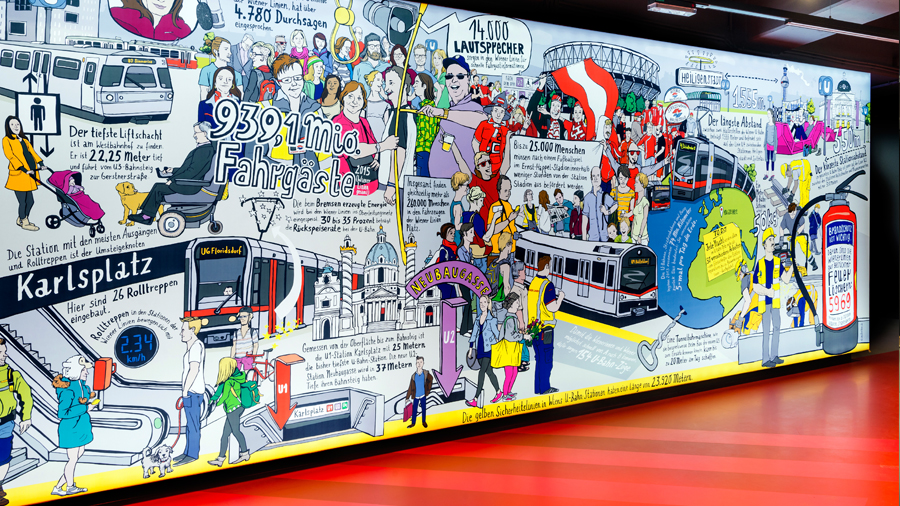 illustration wimmelbild wiener linien